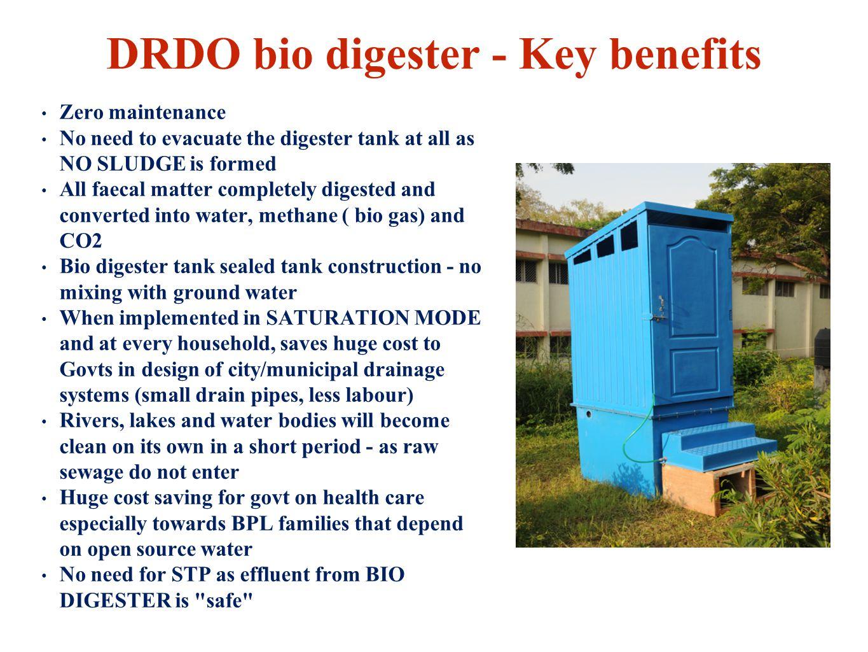 DRDO bio digester - Key benefits
