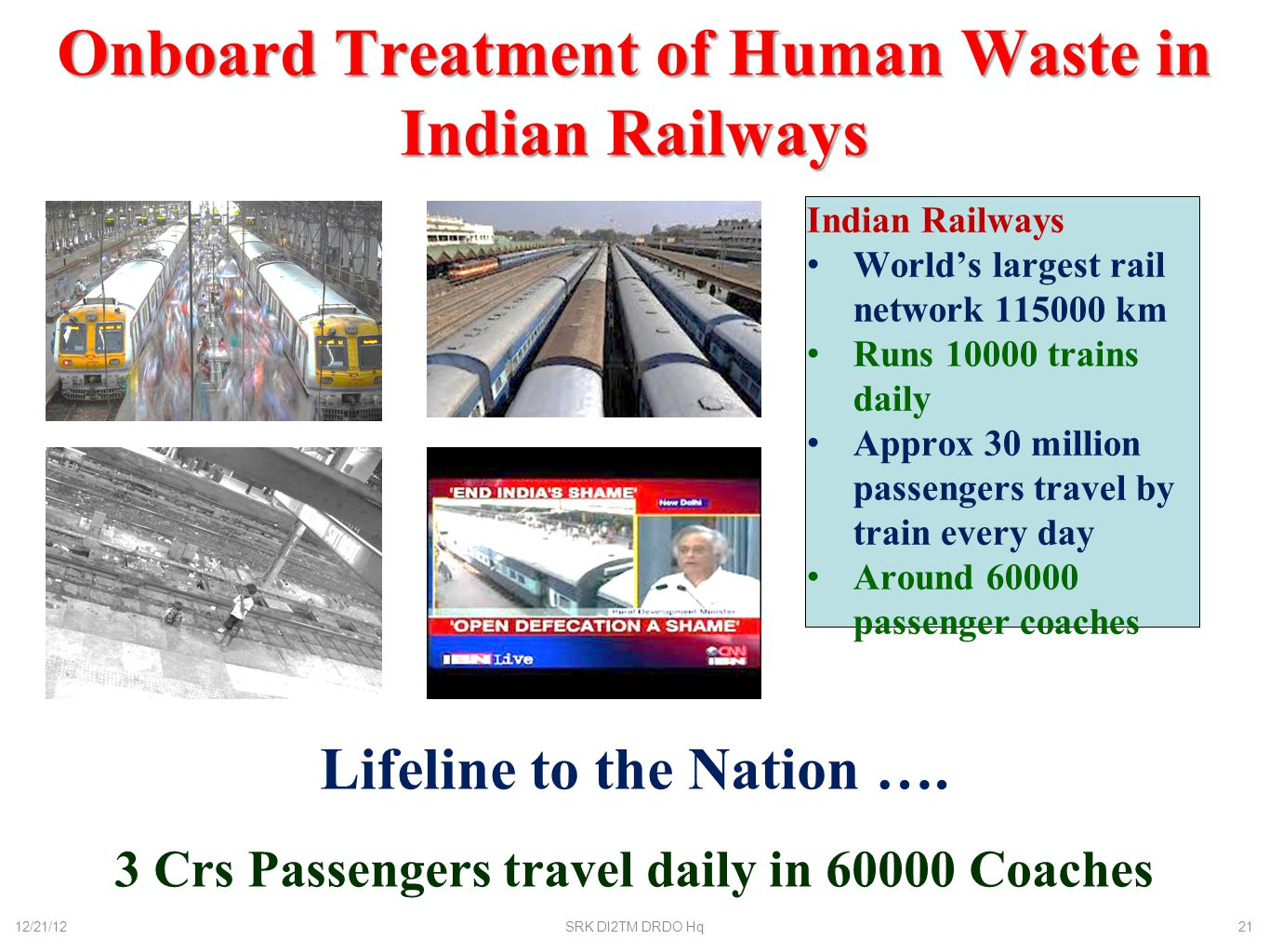 Onboard Treatment of Human Waste in Indian Railways