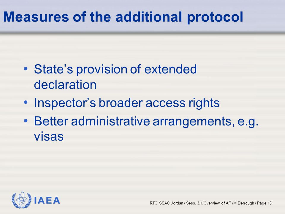 Measures of the additional protocol