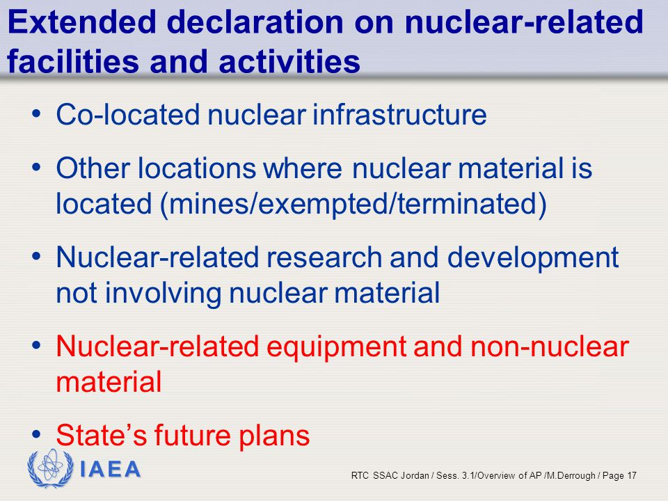 Extended declaration on nuclear-related facilities and activities