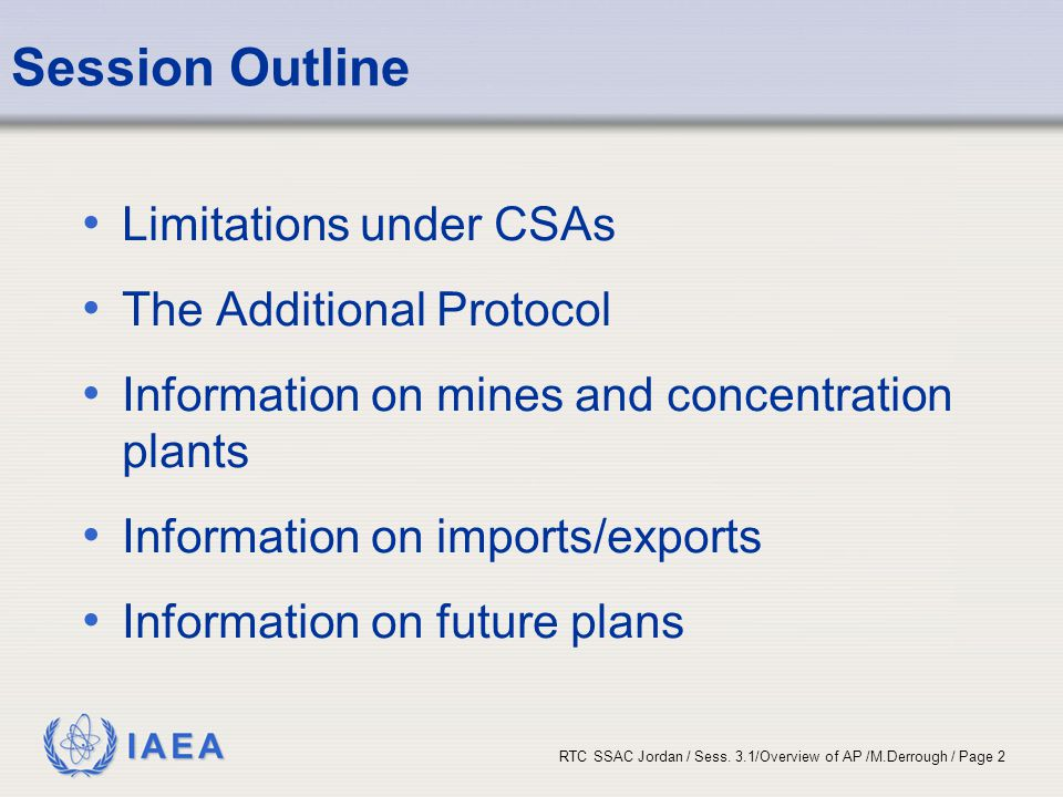 Session Outline Limitations under CSAs The Additional Protocol
