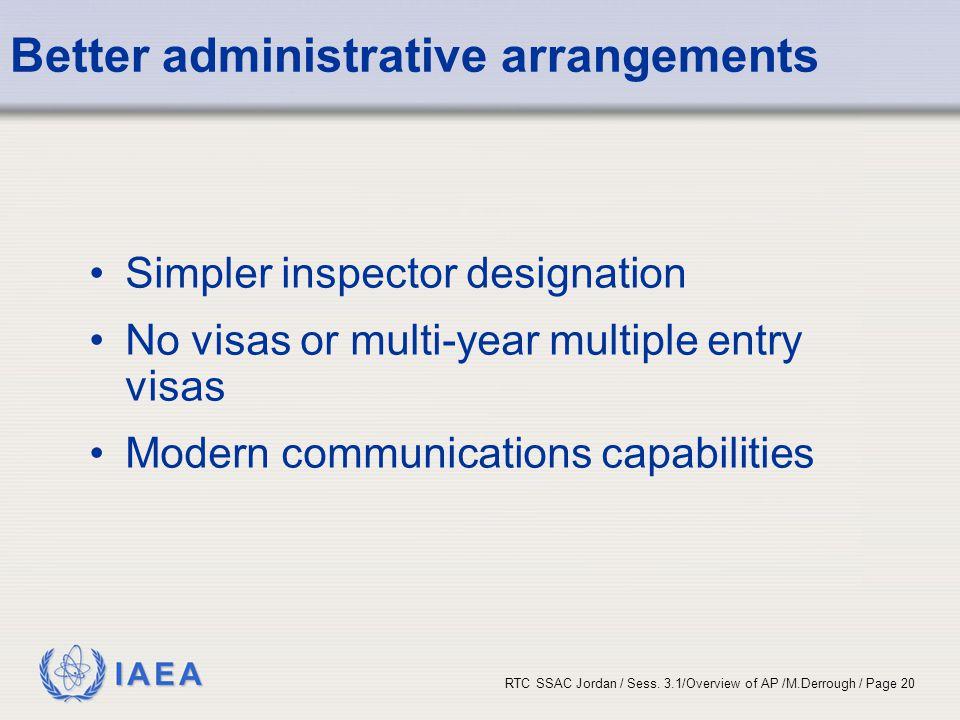 Better administrative arrangements