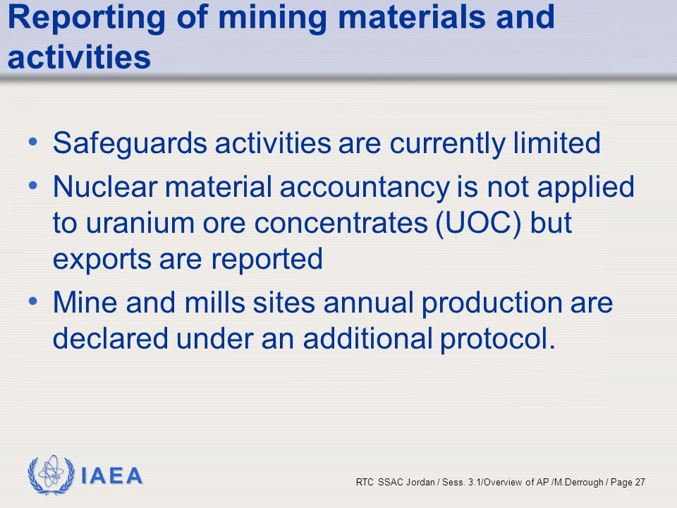 Reporting of mining materials and activities