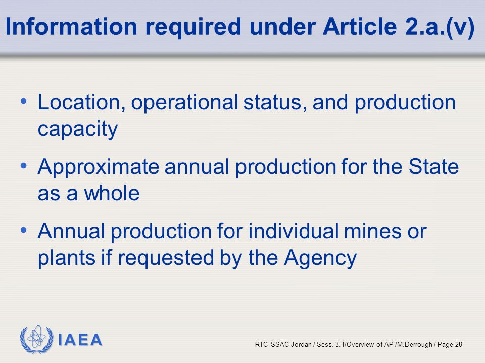 Information required under Article 2.a.(v)