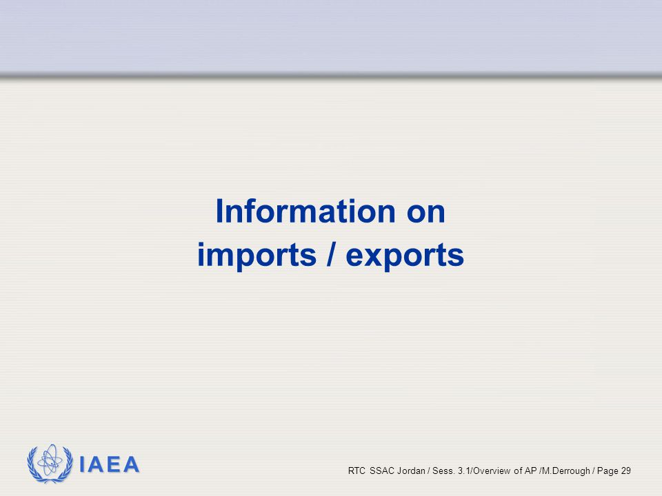 Information on imports / exports