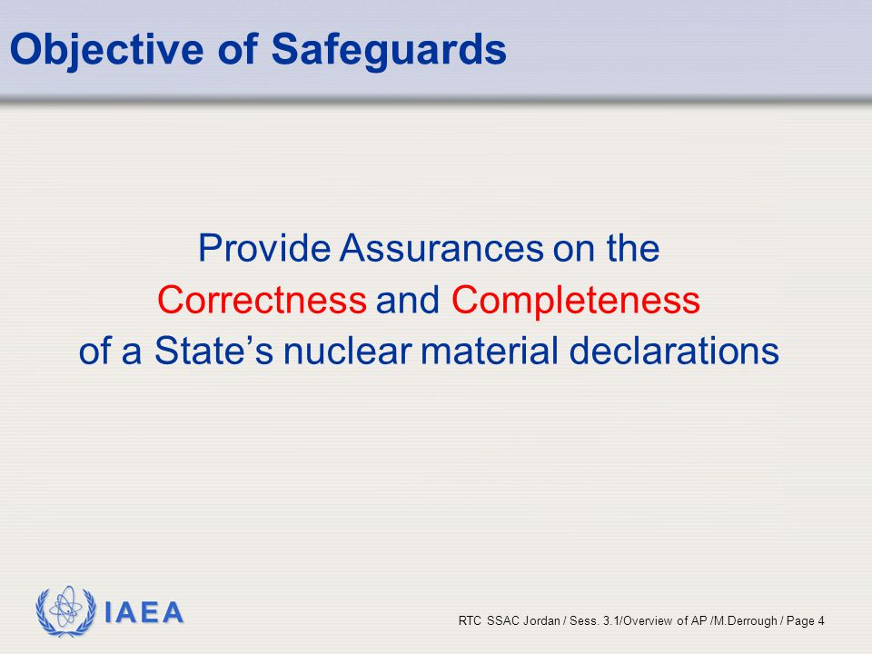 Objective of Safeguards
