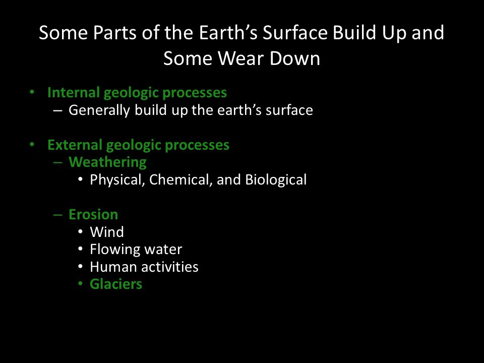 Some Parts of the Earth's Surface Build Up and Some Wear Down