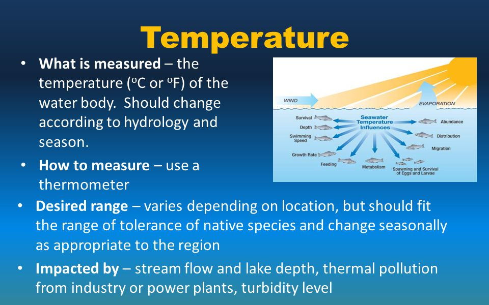 Temperature What is measured – the temperature (oC or oF) of the water body. Should change according to hydrology and season.