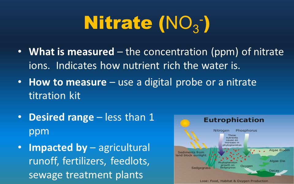 Nitrate (NO3-) What is measured – the concentration (ppm) of nitrate ions. Indicates how nutrient rich the water is.