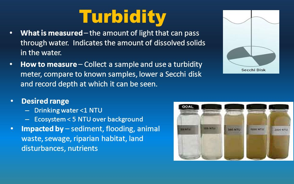 Turbidity What is measured – the amount of light that can pass through water. Indicates the amount of dissolved solids in the water.