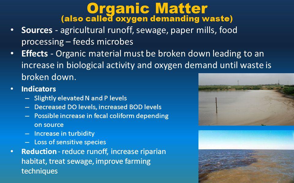 Organic Matter (also called oxygen demanding waste)