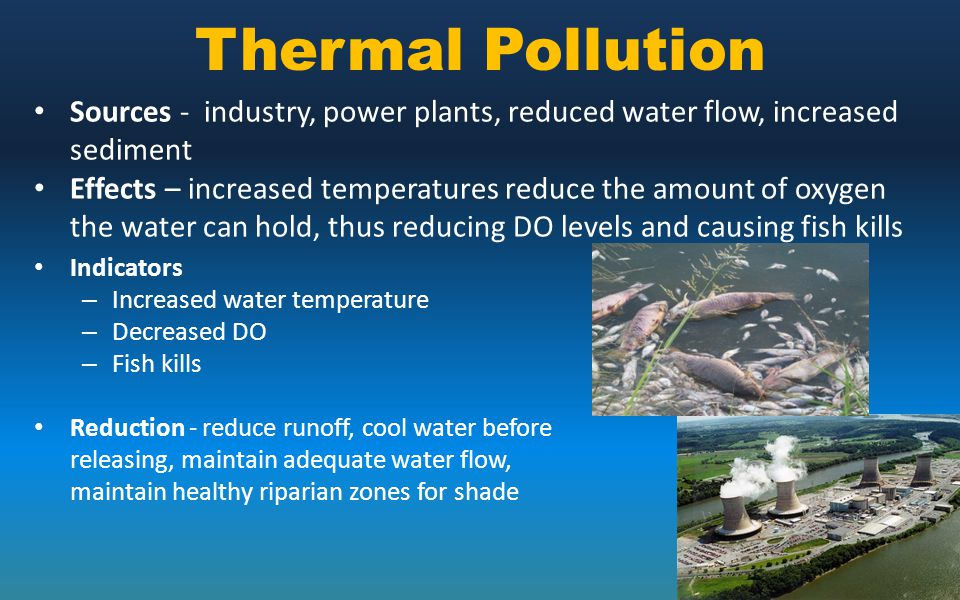 Thermal Pollution Sources - industry, power plants, reduced water flow, increased sediment.