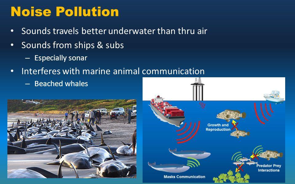 Noise Pollution Sounds travels better underwater than thru air