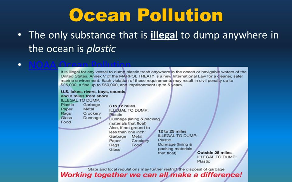 Ocean Pollution The only substance that is illegal to dump anywhere in the ocean is plastic.