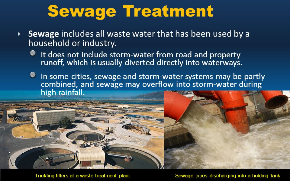 Sewage Treatment Sewage includes all waste water that has been used by a household or industry.