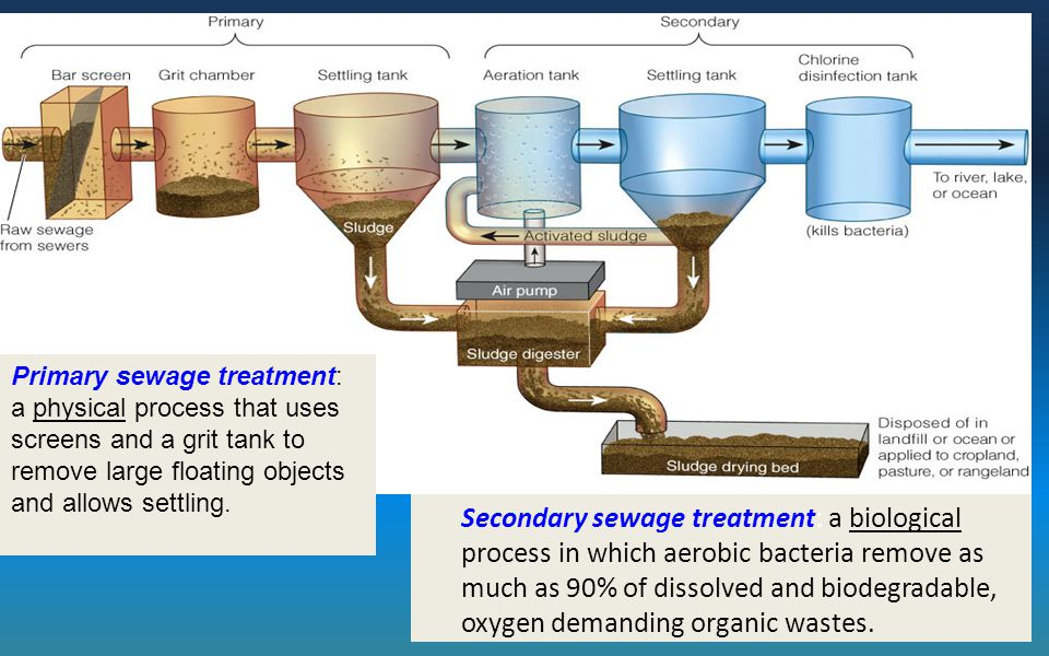Primary sewage treatment: a physical process that uses screens and a grit tank to remove large floating objects and allows settling.