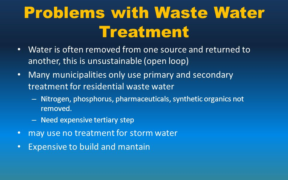 Problems with Waste Water Treatment