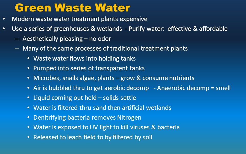 Green Waste Water Modern waste water treatment plants expensive