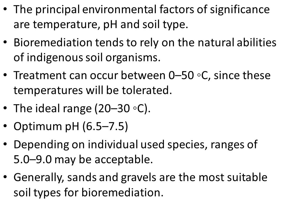 The principal environmental factors of significance are temperature, pH and soil type.