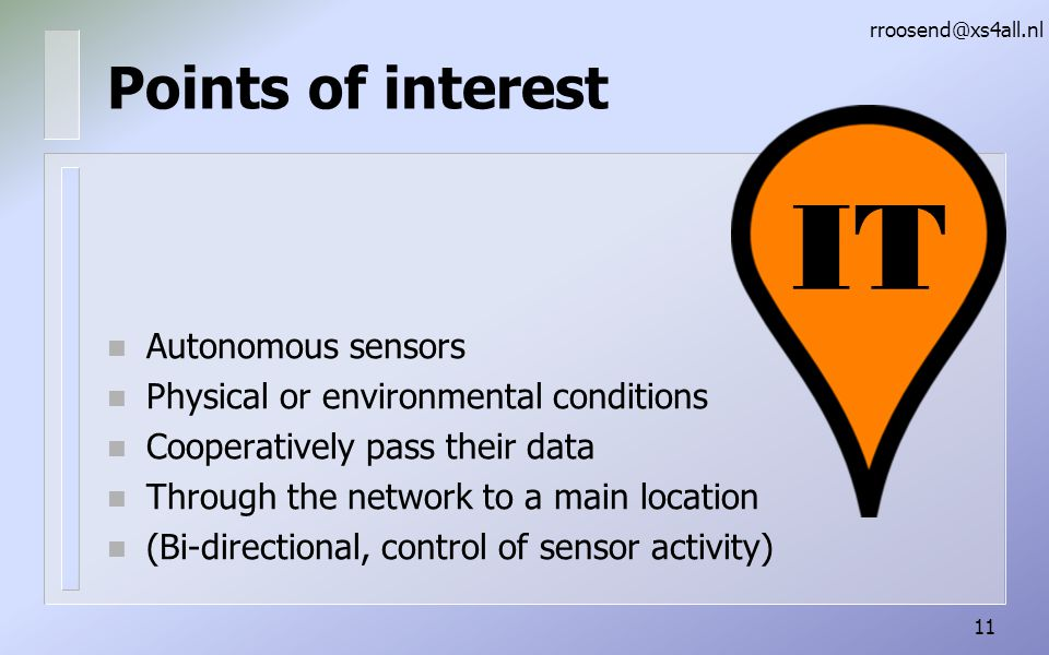 IT Points of interest Autonomous sensors