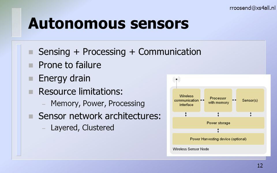 Autonomous sensors Sensing + Processing + Communication