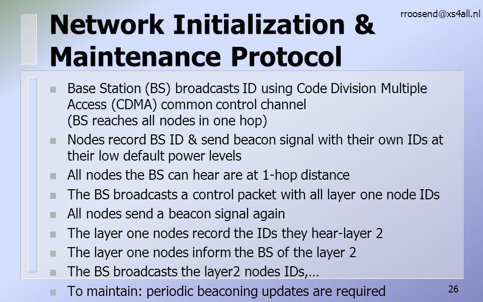 Network Initialization & Maintenance Protocol