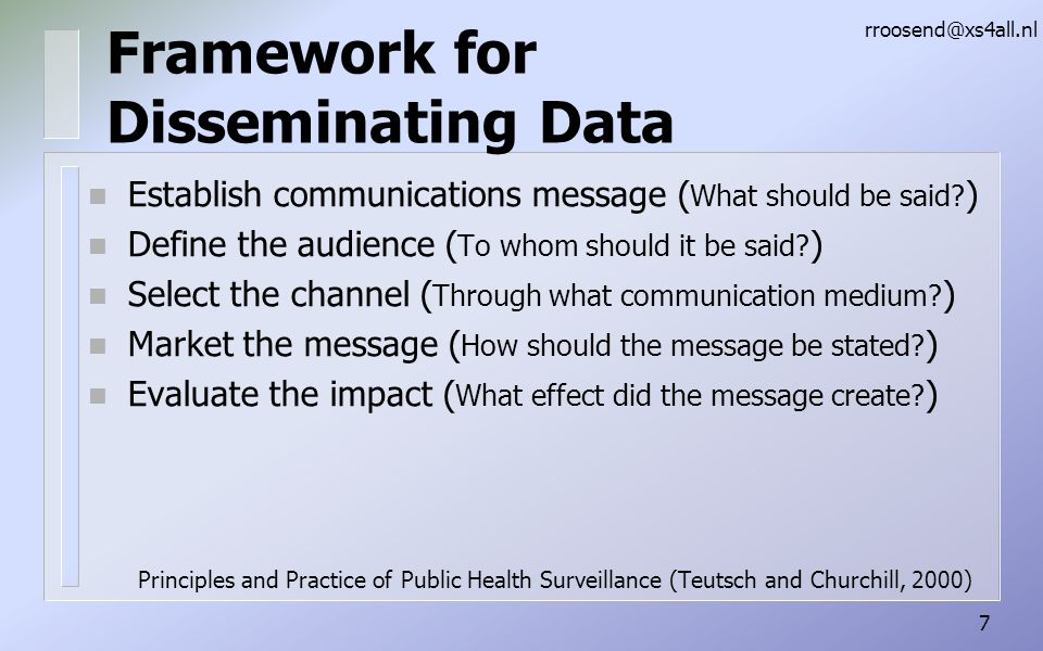 Framework for Disseminating Data