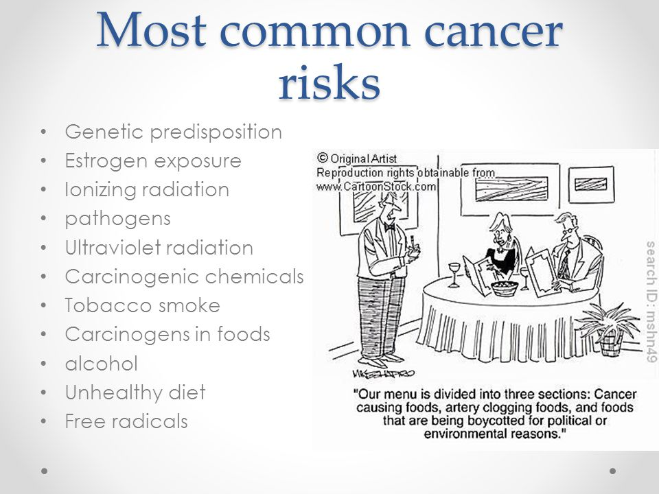 Most common cancer risks