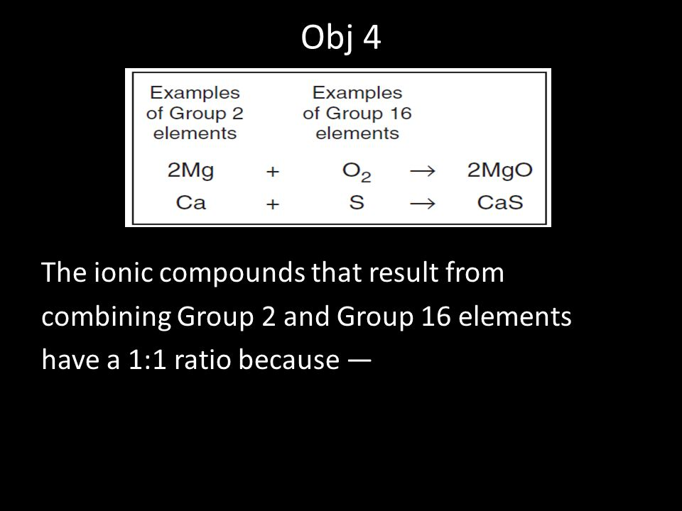 Obj 4 The ionic compounds that result from