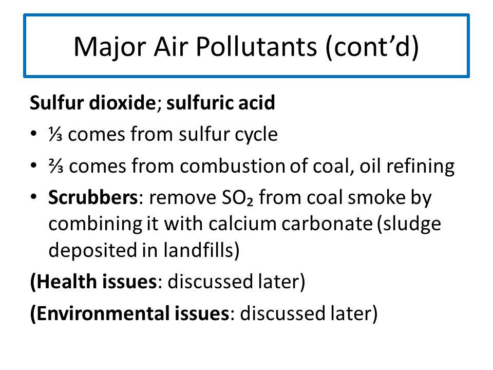 Major Air Pollutants (cont'd)
