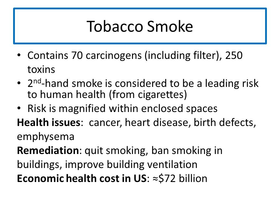 Tobacco Smoke Contains 70 carcinogens (including filter), 250 toxins