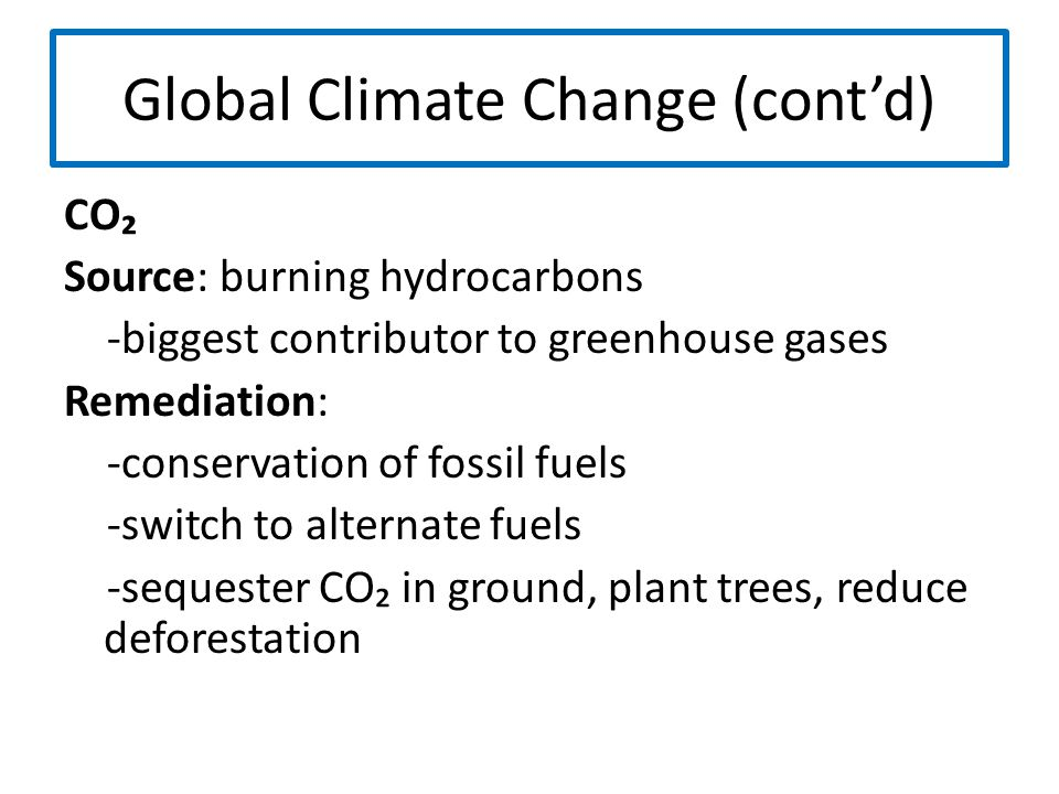 Global Climate Change (cont'd)