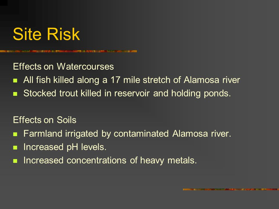Site Risk Effects on Watercourses