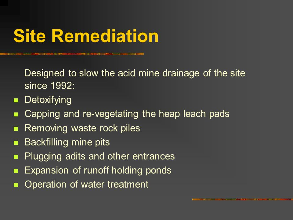 Site Remediation Designed to slow the acid mine drainage of the site since 1992: Detoxifying. Capping and re-vegetating the heap leach pads.