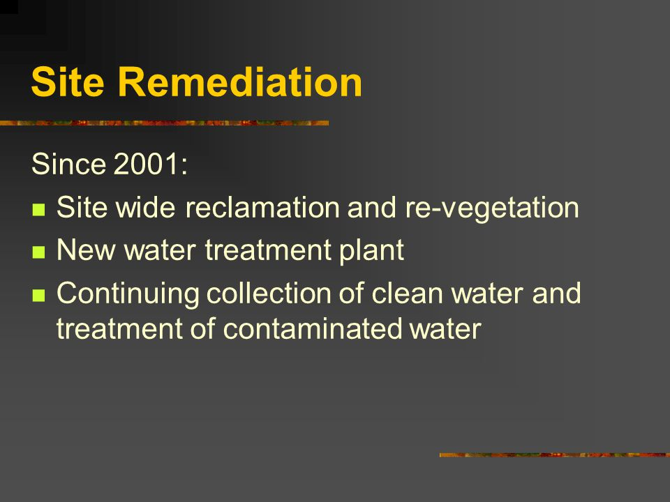 Site Remediation Since 2001: Site wide reclamation and re-vegetation