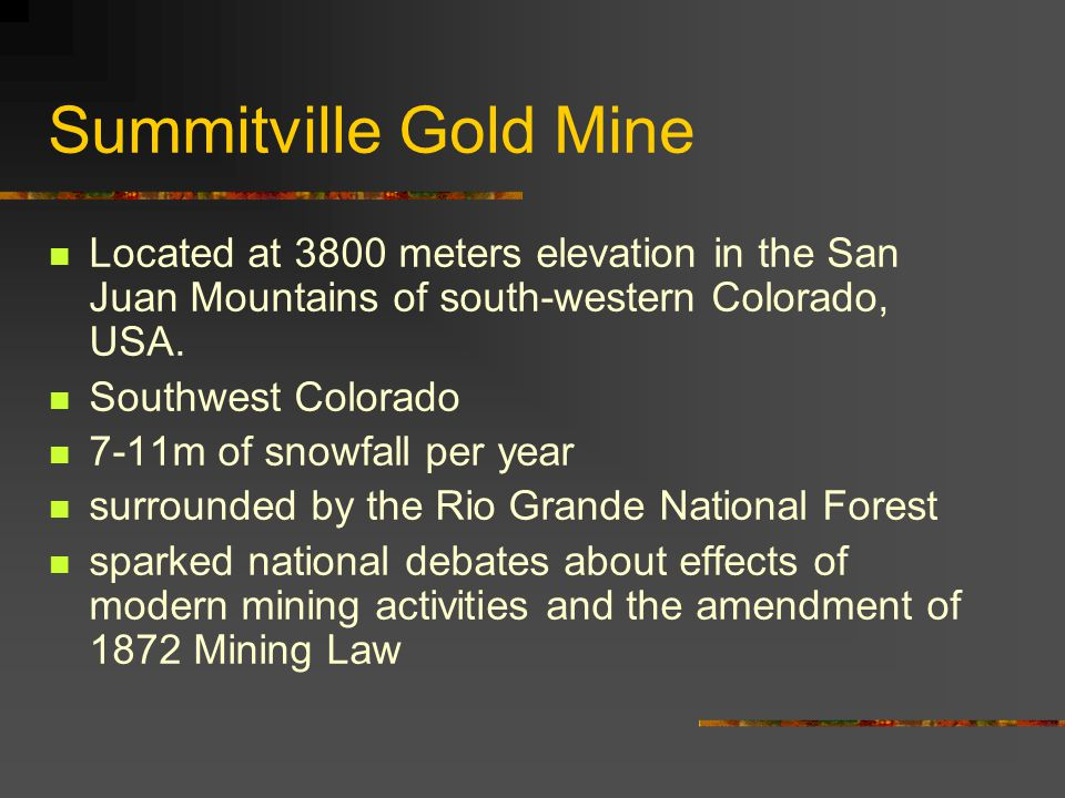 Summitville Gold Mine Located at 3800 meters elevation in the San Juan Mountains of south-western Colorado, USA.