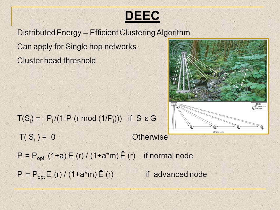 DEEC Distributed Energy – Efficient Clustering Algorithm