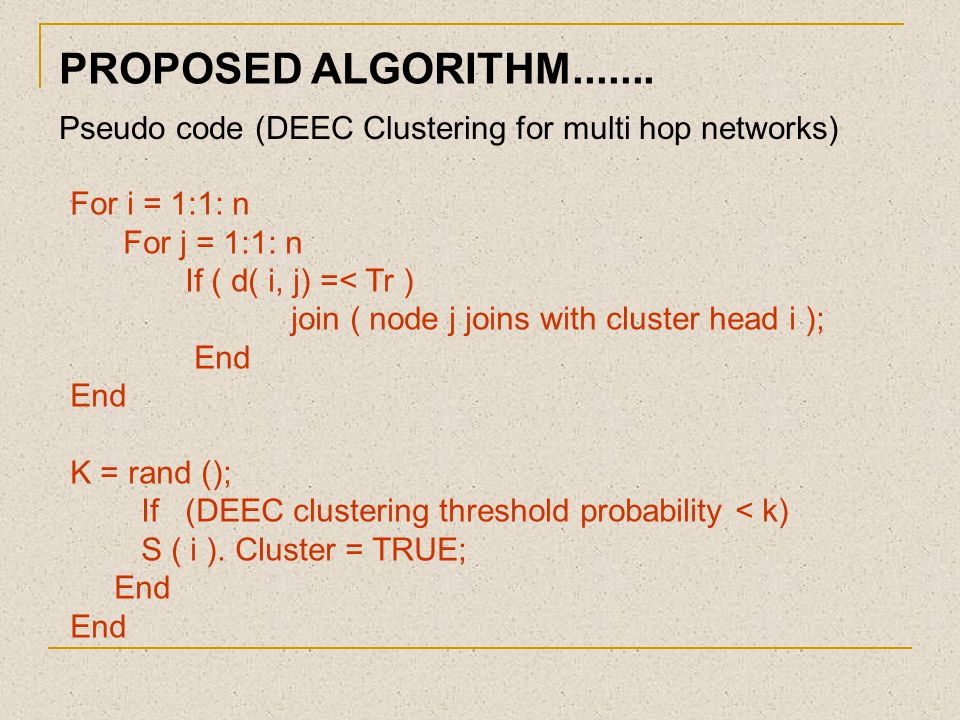 PROPOSED ALGORITHM....... Pseudo code (DEEC Clustering for multi hop networks) For i = 1:1: n. For j = 1:1: n.