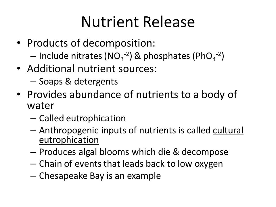 Nutrient Release Products of decomposition: