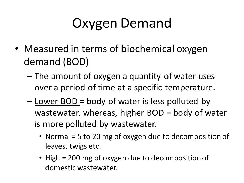 Oxygen Demand Measured in terms of biochemical oxygen demand (BOD)