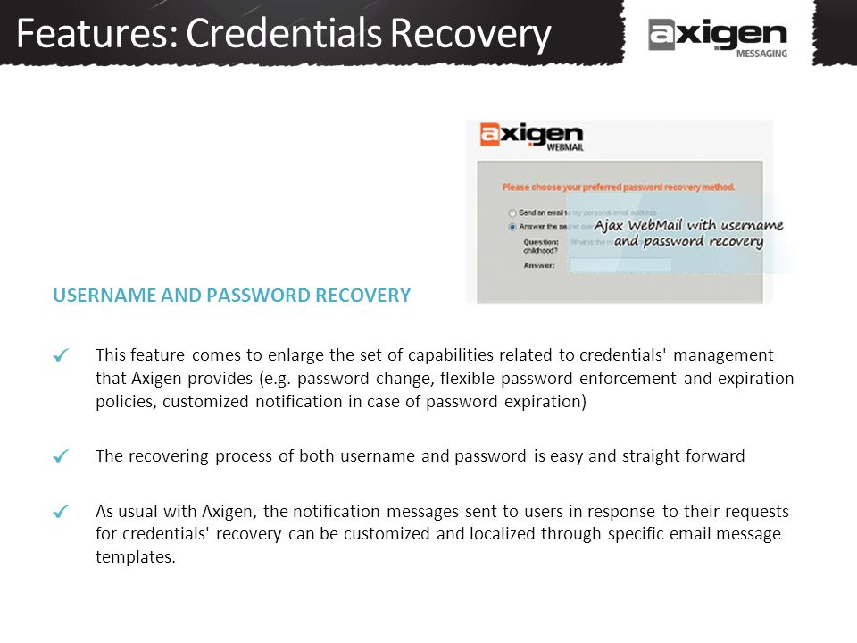 Features: Credentials Recovery