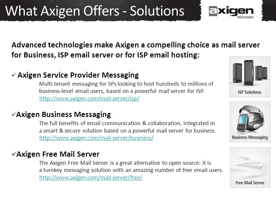 What Axigen Offers - Solutions