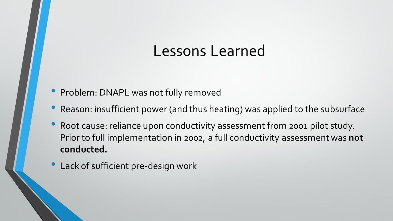 Lessons Learned Problem: DNAPL was not fully removed