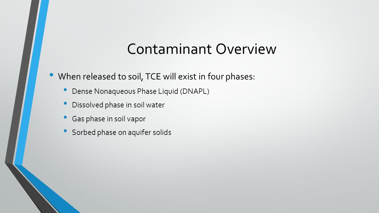 Contaminant Overview When released to soil, TCE will exist in four phases: Dense Nonaqueous Phase Liquid (DNAPL)