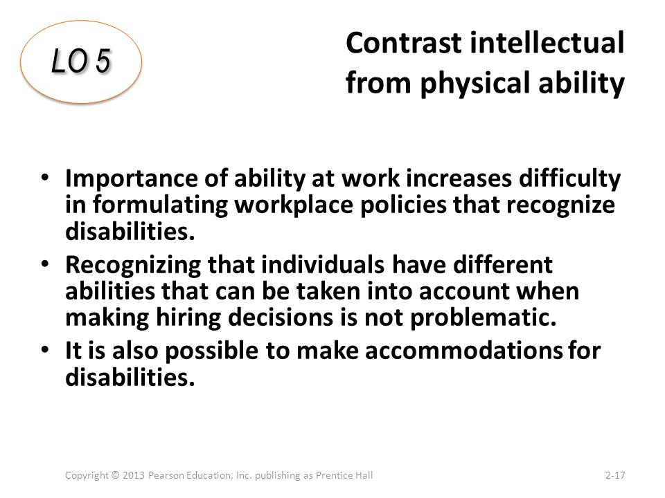 Contrast intellectual from physical ability