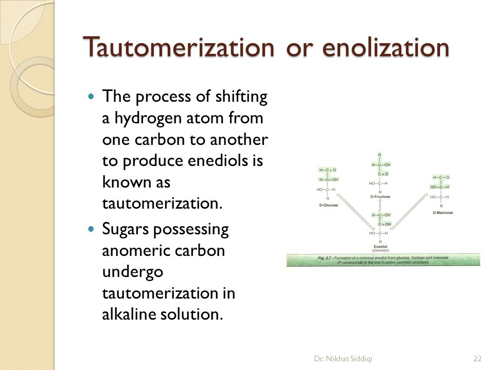 Tautomerization or enolization