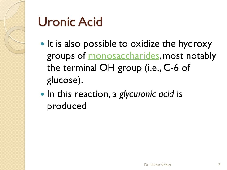 Uronic Acid It is also possible to oxidize the hydroxy groups of monosaccharides, most notably the terminal OH group (i.e., C-6 of glucose).