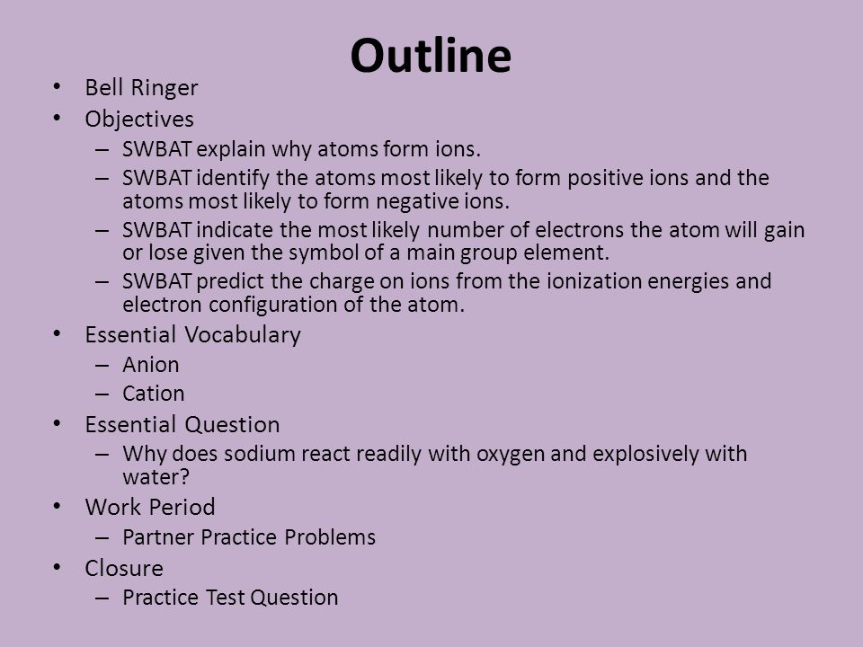Outline Bell Ringer Objectives Essential Vocabulary Essential Question