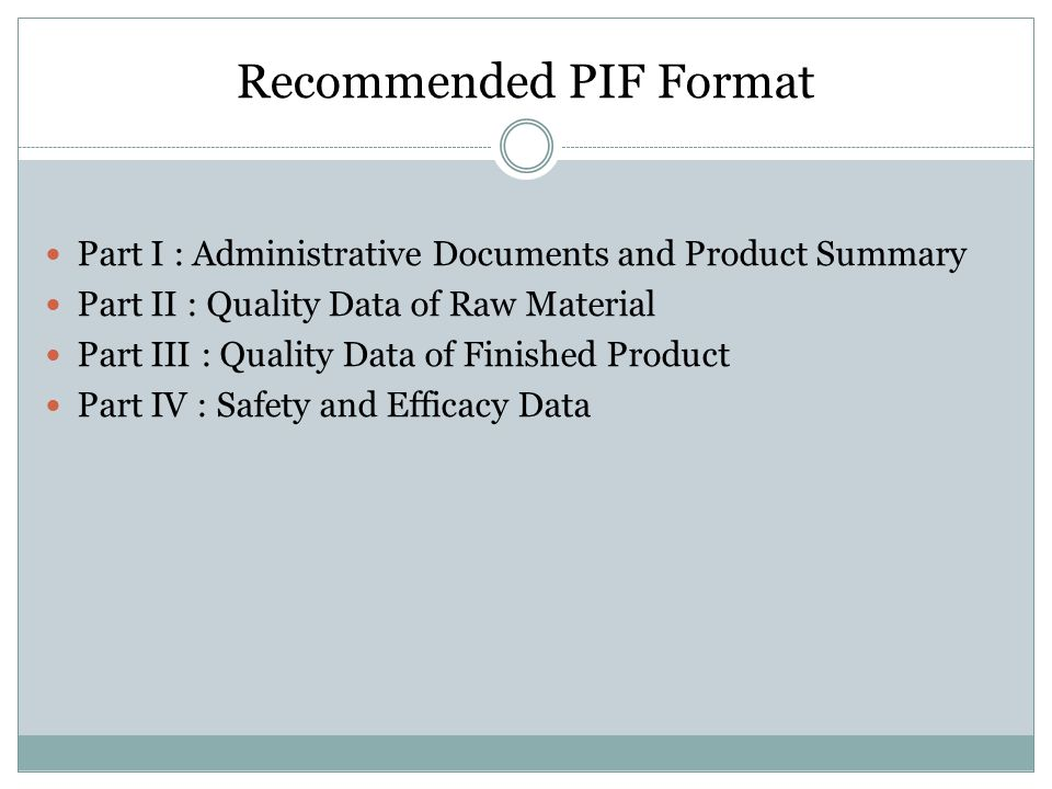 Recommended PIF Format