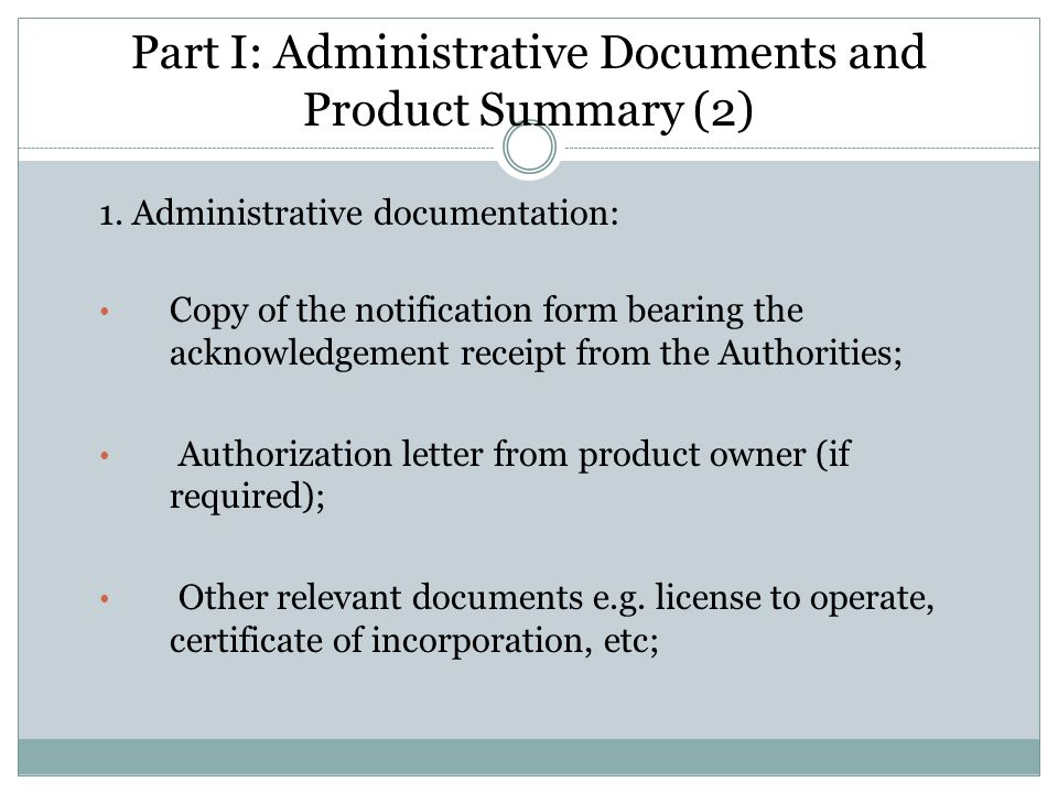 Part I: Administrative Documents and Product Summary (2)